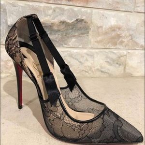 official photos ad16b 19c13 Christian Louboutin Black Hot Jeanbi 100 Lace Nude Boutique